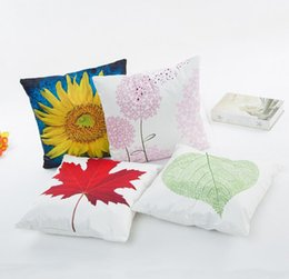 Wholesale maple patterns - Spring summer plant pillowcase Sunflower maple leaves dandelion pattern pillow cases Digital printed imitated silk fabric cusion cover