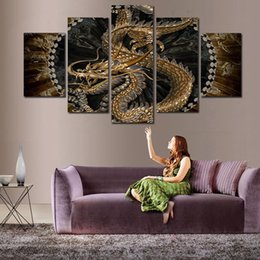 Wholesale Dragon Paint - Animal Dragon Canvas Painting Wall art Digital printing picture for room decor 5 Panel No Frame Drop shipping