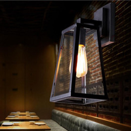 Wholesale Modern Black Wall Lamps - Vintage Outdoor Wall Sconce Loft Wall Lamp Retro American Industrial Black Iron Glass Wall Light Living Room Dining Room Light Bar Lamps
