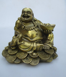 Wholesale Buddha Feng - High: 15CM!!! Art Collection Home Decorated Brass Carved Lucky Money Buddha Statue Home Feng Shui Sculpture 0002