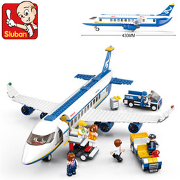 Wholesale Luban Block - Happy Little Luban Assembling Block Toy Airbus A340 Bus Airplane Small Luban 0366