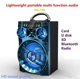 Wholesale 15w Speaker - MS-188BT Bluetooth Speaker 15W Square Speaker Bass Wireless Subwoofer Outdoor Music playing With USB LED Light TF FM Radio 20pcs carton