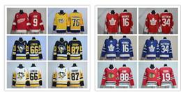 Wholesale Red Ads - 2017 18 New Season 87 Sidney Crosby 76 PK Subban 16 Marner 34 Auston Matthews 88 Patrick Kane 19 Toews 66 Lemieux 9 Howe AD Hockey Jerseys