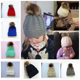 Wholesale Baby Winter Fur Hat - Kids Winter Knitted Hat Pompom Ball Warmer Wool Fur Baby Boys Girls Caps Crochet Knitted Hats Skull Caps Pompom Beanies KKA3203