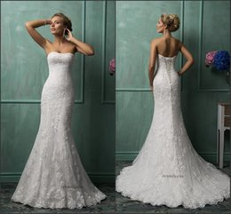 Wholesale Strapless Mermaid Red - Charming Strapless Lace Wedding Dresses Sheer Lace Up Back Spring Amelia Sposa New Designer Mermaid Chapel Bridal Gowns Custom Made
