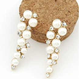 Wholesale Crystal Jewelry Designs - Fashion Brand New Design Elegant Crystal and Pearl Drop Long Earrings For Woman hoop Gift Wholesale Jewelry