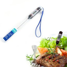 Wholesale Stainless Gauges - Digital Cooking Food Probe Meat Household Thermometer Gauge Kitchen BBQ 4 Buttons Stainless Steel Food Cooking BBQ Meat Steak Probe 3002024