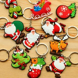 Wholesale keychains children wholesale - Christmas Santa Claus PVC Soft Rubber Keychains Creative Christmas Tree Key Chain Key Ring For Christmas Children Gifts