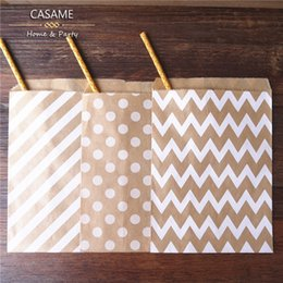 Wholesale Chevron Paper Favor Candy Bags - Wholesale-75pcs  Lot treat candy bag high quality Party Favor Paper Bags Chevron Polka Dot Stripe Printed Paper craft Bags Bakery Bags