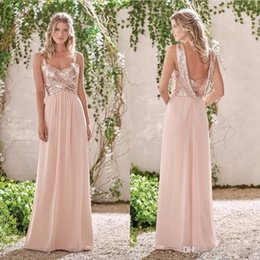 Wholesale Sparkly White Chiffon Wedding Dresses - 2017 Sparkly Rose Gold Sequin Country Style Bridesmaid Dress Chiffon Maid of Honor Dress Wedding Guest Gown Custom Made Plus Size