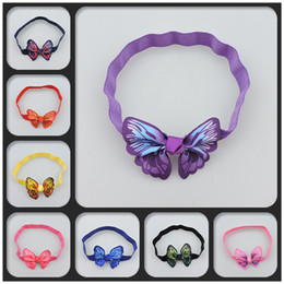 Wholesale Baby Girl Butterfly Headband - New pretty 3D Print butterfly baby Headband cute Ribbon Girls hair band Head Bands Infants Children Hair Accessories Kids Hair Bows A553