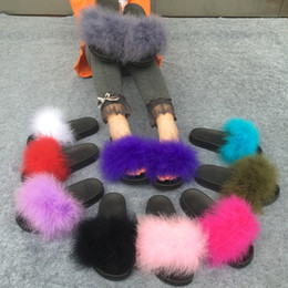 Wholesale Black Shoes Cute Women - Slippers Fur Furry Open Toe Women Casual Flat Shoes Soft Warm Fluffy Slip On Cute Home Floor Slippers Autumn Winter 10 Colors
