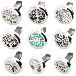 Wholesale Aroma Diffuser Essential Oils - More Than 50 styles 30mm Diffuser 316 Stainless Steel Pendant Car Aroma Locket Essential Car Diffuser Oil Lockets Free 100pcs Pads