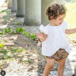 Wholesale Wholesale Kids Puff Sleeve Shirt - Summer New Girls Tshirts Tops Children Puff Sleeve Pure Cotton White Kids T-shirts Bunny Cute Casual Shirt Babies Girl Shirt Top A6461