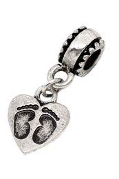 Wholesale Diy Jewery - Newest European antique silver Pendant Charms allry peach heart footprint Pendant Findings swing bead DIY jewery