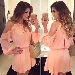 2019 barato sexy noite vestidos Atacado-Free envio gratuito de mulheres vestido de verão 2016 novo chiffon recorte de volta as mulheres se vestem de ombro robe A linha casual vestido JHH869