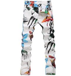 Canada Blanc mince pas cher jeans homme jean skinny imprimé hommes élastique fleur dessin denim pantalons masculino moto designer de mode supplier cheap printed elastic Offre