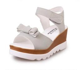 Wholesale Sweet Platform Wedge Heels - Woman Sandals Women Pumps Women Shoes Summer New Platform Wedges Heel Fashion Casual Female Loop Thick Sole Sweet Bowtie Student Women Shoes