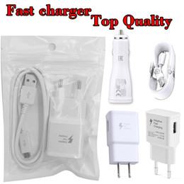 Wholesale Iphone Wall Car Eu - For Samsung Kit Quick Car Charger Wall Adapter 5V 2A One Set S7 S6 Travel 1M Micro USB Cable US EU Plug Charger
