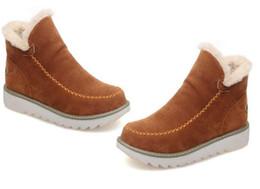 Botte de neige grande taille sexy en Ligne-Nouvelle arrivée mode bottes sexy demi bottes hiver chaud coton rembourré chaussures femmes hauts coins en daim en cuir bottes de neige Grande taille 34-43