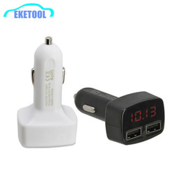 Wholesale Dual Voltage Battery Charger - Wholesale- 1pcs Universal Car Charger Adapter 3.1A Dual USB Battery Charge 4 IN 1 Function For Voltage Current Meter Temperature Best Sale
