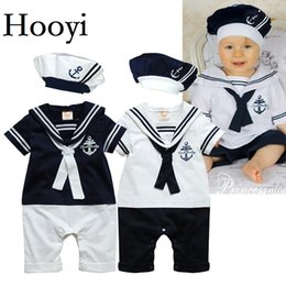 Wholesale Sailor Costume Baby - Hooyi Sailor Baby Boy Short Rompers Cool Baby Navy Beret Cap Fashion 100% Cotton Infant Clothes Costumes Seaman Jumpsuit Overall