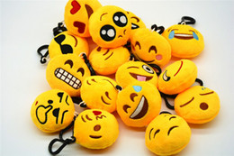 Wholesale Amuse Plush - 6cm Creative Keychain Cute Emoji Smiley Emotion Amusing Soft Stuffed Plush Yellow Round Mini Round Cushion Pillow Pendant Keychain Fash