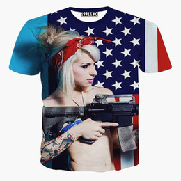 Wholesale Usa 3d - tshirt USA flag printed men's 3d t-shirt funny digital printing sexy Girl holding gun short sleeve t shirt summer tops