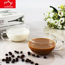 Wholesale Transparent Coffee Set - 250ml*2pcs Glass Cup Set Home belly thickened coffee cups a pair of transparent coffee mugs lovers' mugs explosion-proof glass