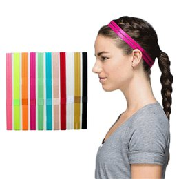 Wholesale Silicone Hair Piece - Wholesale-1 Piece Women Yoga Sports Headbands Elastic Rubber Gym Running Hairbands Anti-slip Silicone Rubber Hair Bands
