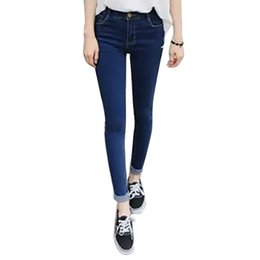 Wholesale Wholesale Colored Skinny Jeans - Wholesale- Fashion Korean Style Women Slim Pencil Stretch Denim Skinny Jeans Pants High Waist Trousers