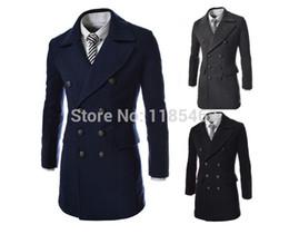 Wholesale Mens Dust Coats - Wholesale- High quality 2014 Men's Dust Coat mens overcoat winter men's trench coat long trench coats for men