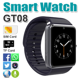 Wholesale Iphone Sd Slot - GT08 Smart Watch with SIM Card TF SD Card Slot Fitness Tracker Pedometer for Android Samsung and IOS iphone Smartphone Bracelet Smartwatch