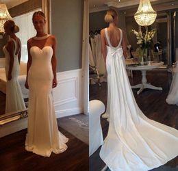 Wholesale Low Back Wedding Dress Beaded Chiffon - Low Back 2017 Wedding Dresses Beaded Pearls Sheer Neck Mermaid Court Train Elegant New Design Plus Size Bridal Gowns