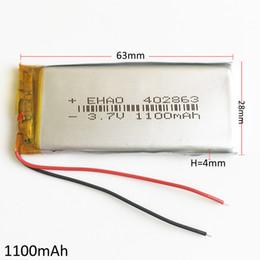 li 3.7v comprimido Desconto Modelo 402863 3.7 V 1100 mAh Polímero De Lítio Li-Po Bateria Recarregável Li células Para DVD PAD Tablet PC Banco de potência do telefone móvel GPS
