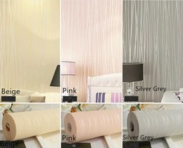 Wholesale Leather Wallpaper White - 0.53m*10m wallpaper rolls 3D stripe non-woven wallpaper Plain color pink sky blue warm white silver grey beige wall paper #4845