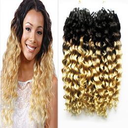 Wholesale Deep Curly Micro Loop - Brazilian Deep Curly hair micro loop 1g curly ombre Human hair extensionsi T1b 613 200g 1g s 200s virgin micro loop hair extensions