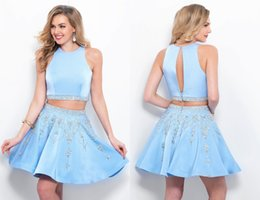 Wholesale Ice Blue Homecoming Dresses - Ice Blue Two Pieces 2018 Graduation Dress A line Satin Two Pieces Jewel Neckline Prom Homecoming Party Dresses Gowns Cheap Jewel Neckline