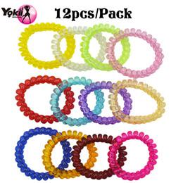 Wholesale Telephone Fashion Hair - YOKII 12PCS Pack Fashion Popular Korean Women Girls Candy Colorful Telephone Wire Style Elastic Hair Band Rope or Bracelet Gift