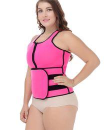 Wholesale Women Plus Size Sweats - 2017 Hot Plus Size Waist Trainer Neoprene Sauna Sweating Vest Tank Top Velco Magic Sticker Belly Trimmer Zipper Belt Women Shaper
