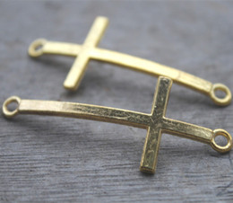 Wholesale Gold Plated Connector Charms - 10pcs lot Gold tone Cross Charm Jewelry Connectors 22*52mm Fit Jewelry Bracelet Making