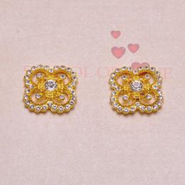 Wholesale Flat Back Square Crystals - (J0872) 100pcs lot,25mmx25mm metal crystal button ,flat back,gold plating ,square shape