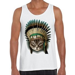 Wholesale Top Sexy Indian - Wholesale- 2016 New Fashion The Indian Chief Cat Printed Men Tank tops O-Neck Casual Vest Hipster Vintage Style Singlets