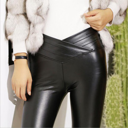 Wholesale Sexy Tights Leather - PU Leather Women Pants Winter warm tight Sexy High waist Trousers High elasticity Brand pant Brushed Long pants Bottom