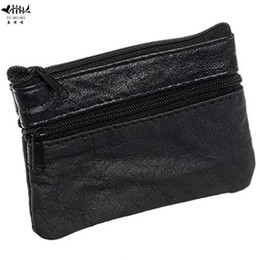 Wholesale Unisex Changing Bags - Mini Coin Purse Wallet Genuine Leather Men Women Small Change Pouch Bags Cards Key Holder Coin Purses Wallets free shipping