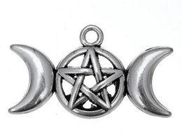Wholesale Wholesale Goddess Pendants - Antique Triple Moon Goddess Pendant Charms Fit Necklace Bracelet Pentagram Pentacle Protection Star 50pcs lot