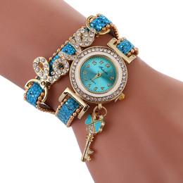 Wholesale Vintage Diamond Bracelets - wholesale new women fashion ribbon rope weave bracelet watch big diamond love design key pendant retro vintage 2017 ladies watch