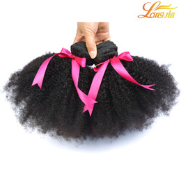 Wholesale Remy Afro Hair - 100%Brazilian Afro Kinky Curly Bundles Human Hair Weft Natural Color Remy Hair Extensions for Black Women Free Shipping Longjia Hair Company