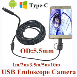 Wholesale Endoscope Ip66 Waterproof - 5.5mm 3 in 1 USB Endoscope Camera 1-10m Soft Wire IP66 Waterproof Snake Tube Inspection Android OTG Type-C USB Borescope Camera
