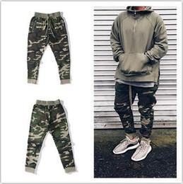 Wholesale Hiphop Sweatpants - Wholesale- 2017 Best Version fog FEAR OF GOD side zipper camouflage pants Hiphop Fashion army green joggers sweatpants justin bieber S-XL